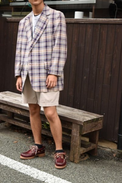 画像1: 60's-70's madras check tailored jacket
