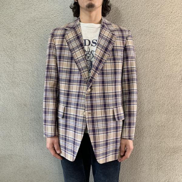 画像1: 60's-70's madras check tailored jacket  (1)
