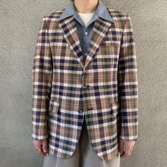画像1: FARAH 70's madras check tailored jacket  (1)